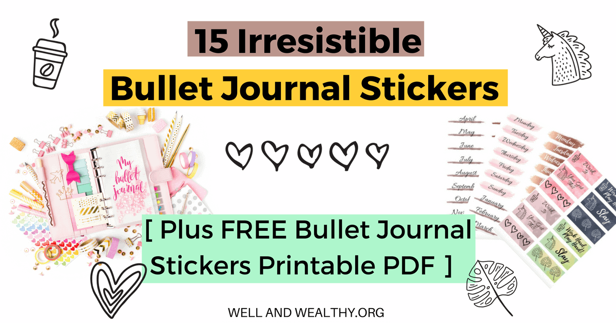 photo relating to Bullet Journal Stickers Printable known as 15 Irresistible Bullet Magazine Stickers (In addition Free of charge Stickers