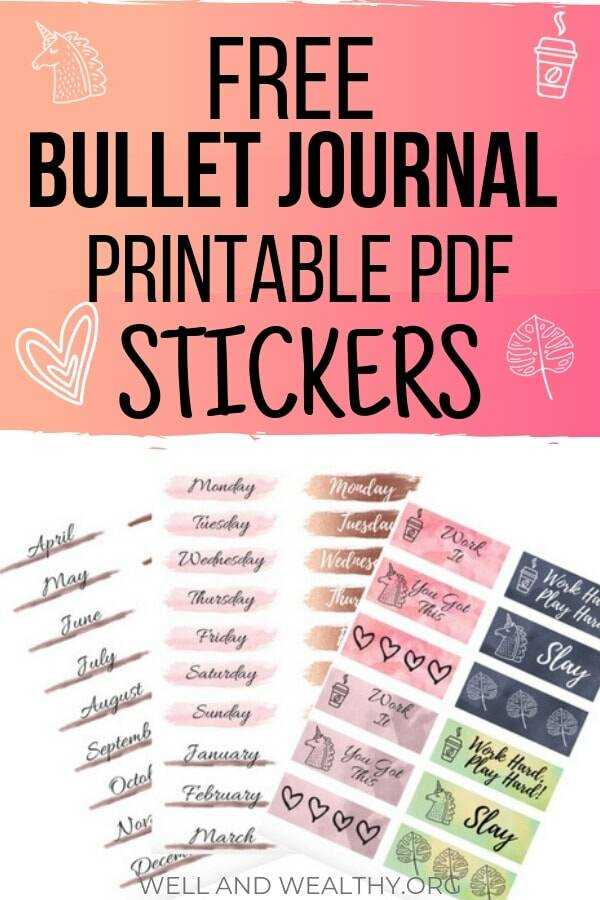 graphic relating to Bullet Journal Stickers Printable identified as 15 Irresistible Bullet Magazine Stickers (As well as Totally free Stickers